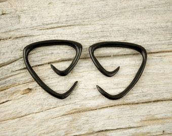 Black Spiral Gauge Earrings 16g 14g 12g Horn Tribal Expanders - GA006 H