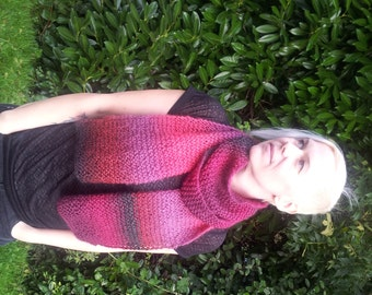 Hand Knitted Chunky Mohair Blend Scarf in Autumn Colours Red Maroon Purple Black