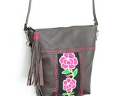 Genuine Leather Cross Body Bag Long Strap Flower Embroidered Fabric (BG4151CM-C5)