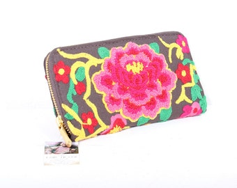 Flower Brown Wallet Hand Embroidered Clutch Hill Tribe Fabric Fair Trade Thailand (BG807B-BRR)