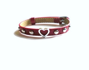Red Heart Charm Bracelet - Studded Leather Heart Charm Bracelet - Friendship Bracelet
