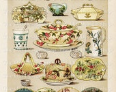 Mrs Beeton's Dinner and Dessert China Vintage Kitchen Food Art Digital Download Cookbook Page JPG Image