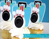 Lets Go Bowling Bag Die Cut Cupcake Topper (One Dozen)