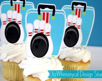 Lets Go Bowling Bag Die Cut Cupcake Topper (One Dozen)