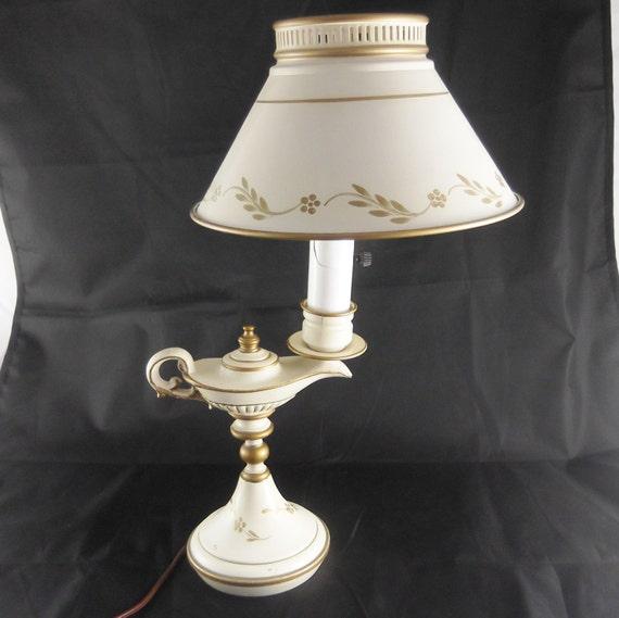 vintage metal lamp tole ware genie lamp by susiesellsvintage. Black Bedroom Furniture Sets. Home Design Ideas