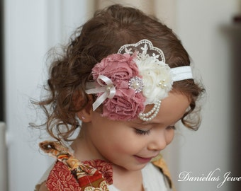 Dusty Rose /Ivory/Vintage Headband/Child Headband /baby Girl Headband /Photo prop Headband/Vintage Lace Headband