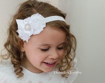 WHITE Baptism Vintage Headband/White Headband /baby Girl Headband  /photo prop