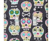 Sugar Skull Light Switch Plate Cover / Standard DOUBLE / Day of the Dead / Single Toggle / Gray Bonehead / Michael Miller