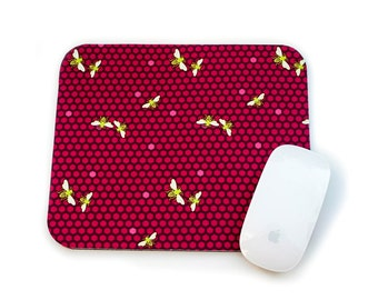 Bee Mouse Pad / Hexagon Bee Hive Fuchsia Bright Yellow Green Black / Home Office Decor / Flora and Fauna