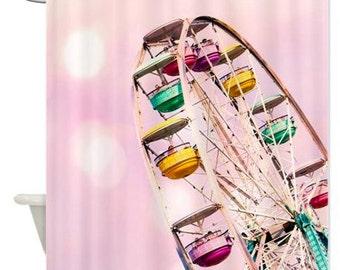 Shower Curtain, Carnival Ferris Wheel, Pastel Pink, Yellow, Teal, Feminine Whimsical Dreamy, Bathroom Decor For the Bath