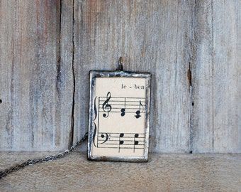 Music Sheet Pendant, Soldered Pendant, Glass Pendant