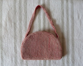 50's Pink Pearl Beaded Purse Small Evening Bag