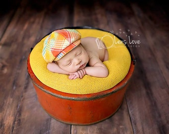 Spring Newsboy Cap, Easter newborn prop, Orange plaid, Newsboy Cap, Newborn newsboy, Newborn boy prop, Baby boy prop, newborn