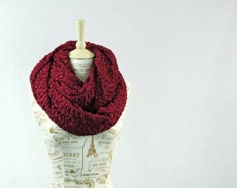 Burgundy Scarf, Large Infinity Scarf, Winter Scarf, Ruffle Ruched Chunky Scarf, Maroon Scarves, Oversized Scarf, Best Friend Gift for Her