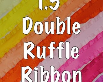 "1.5"" Double Ruffle Ribbon - Many Colors and Lengths!"
