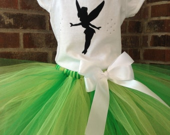 Tinkerbell Inspired Tutu Set - Tinkerbell Costume - Size 3T, 4T, 5T