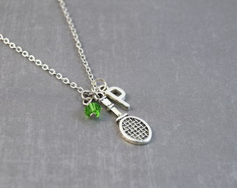 Tennis Racket Necklace - Swarovski Tennis Necklace - Tennis Party - Personalized Necklace - Tennis Jewelry - Sports Jewelry - Tennis Racket