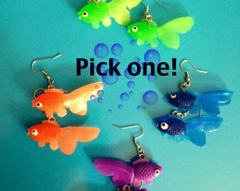 SALE / Neon Derpy Goldfish Earrings / Pick ONE! Retro style