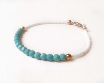 Beaded Friendship Bracelet, Turquoise Bead Bracelet, White Seed Bead, Mixed Media Jewelry, UK Seller