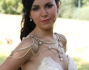 Necklace For The SHOULDERS,Bridal Victorian Style,Pearls And Rhinestone,Crystals,OOAK Bridal Jewelry,Wedding Jewelry,Vintage,1920's Style