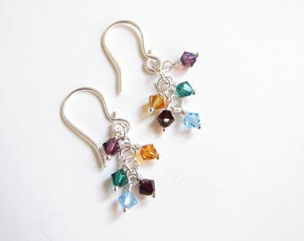 Family Birthstone Earrings , Mother's Day Birthstone Gift , Birthstone earrings , Sterling Silver earrings , Birthstone jewelry , Sterling