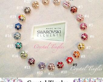 Bling Sparkle Flower Swarovski Elements Crystal Diamond Peel Pop Up Sticker Apple iPhone Home Button 6s Plus 5s 5c iPad iPod