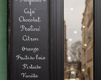 Paris Photography, Patisserie Menu Sign, France Travel Photograph, Paris Decor, Large Wall Art