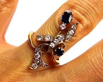 European Art Nouveau 1.70ct Antique Old European cut Sapphier and Diamonds Ring 14K Rose Gold