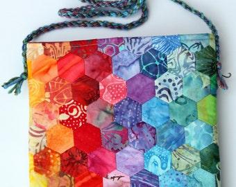 Hand Stitched Rainbow Hexagon Bag by PingWynny