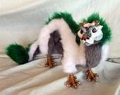 Handmade Poseable Art Doll - Haku Coloured Antlered Dragon