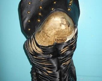 Original design Black leather urban vest  ready to ship