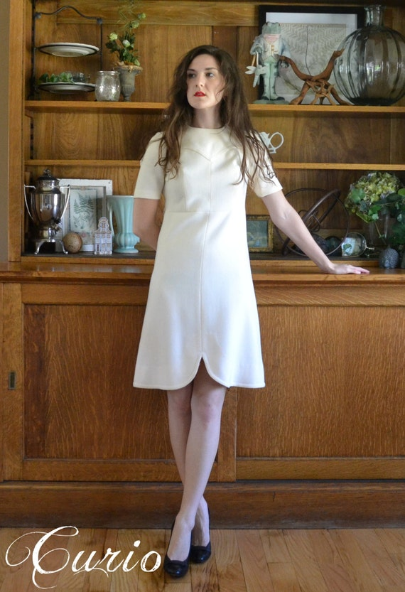 Architect Dress / 60's Mod White Cream Wool Scooter Japanese