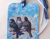 Renew Vintage Blue Bird Photo New Year Eggs Large Handmade Tag or Bookmark Mixed Media Paper Collage 3.5 x 5.5 Sturdy Tag