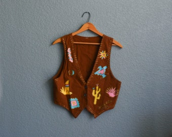 1990s XS/SML brown southwestern vest
