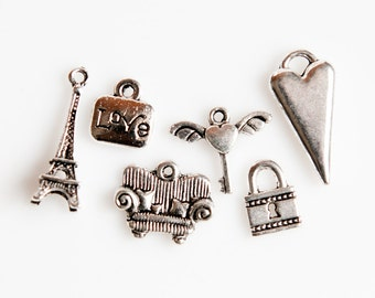 STORE CLOSING! ChrmAS321 - Silver Love Theme Charms - 2 sets of 6 (12 Pieces)