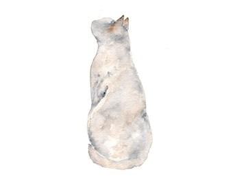 Cat painting, cat print, watercolor painting, cat art, cat silhouette, watercolor cat, animal illustration, modern art, grey, 5X7 print