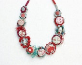 Floral mixed media necklace, crochet textile jewelry, OOAK fiber art in red light blue white