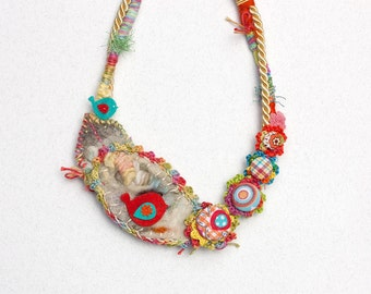 Textile bib necklace, crochet and felt jewelry with fabric buttons, multicolor, OOAK