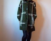 vintage oversized sweater coat long knit cocoon coat - 80s