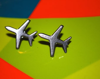Airplane Earrings -- Studs, Silver