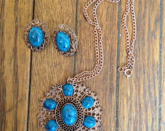 Bronze & Turquoise Necklace Earrings Set