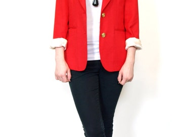 Vintage women's fitted red blazer with gold buttons size small or medium