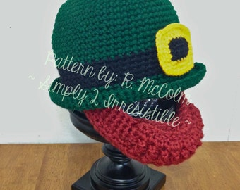 Irish Bowler and Beard Leprechaun Hat - Crochet Pattern 69 - US and UK Terms - Instant DOWNLOAD