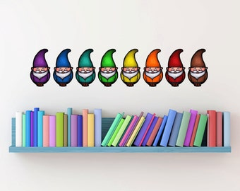 Gnomes decals rainbow set - Fabric adhesive decals- Small Size