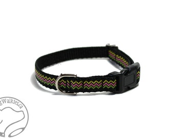 "Chevron Zigzag - Thin Dog Collar - 1/2"" (13mm) Wide - Small Martingale or Quick Release Buckle - Choice of collar style and size"
