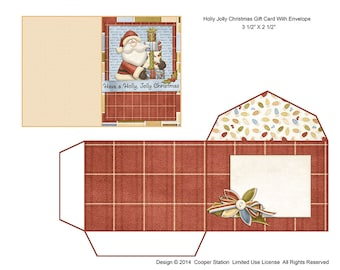 Digital Printable Christmas Gift Card With Envelope