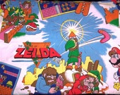 Vintage Legend of Zelda and Super Mario Bros Nintendo Fitted Twin Sheet MINT fabric