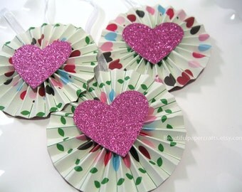Heart Tags/Valentine Gift Tags Heart Favor Tag / Treat Tags- Rosettes (Set of 3) READY TO SHIP