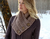 CROCHET PATTERN- The CHELSEA cowl scarf toddler, child, teen, adult sizes - chunky soft taupe beige cowl scarf with coconut buttons