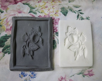 Clay Stamp Cabbage Rose Flower Pottery Press Mold Relief Mold or Sprig Mold Bisque Clay Floral Stamp for Ceramic Decoration and Texture